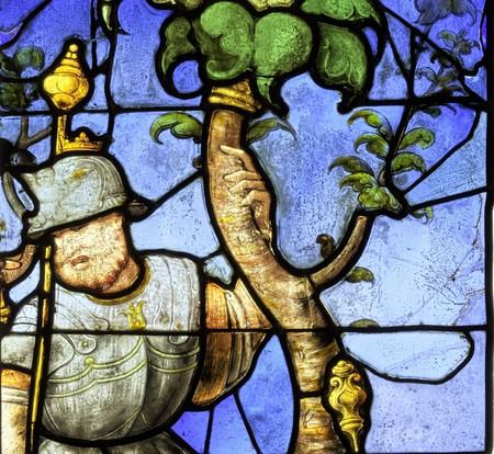 D'après Jean Cousin, Détail de l'Arbre de Jessé, fragments d'une verrière de l'église Saint-Hilaire (?), vers 1540, Centre international du Vitrail à Chartres